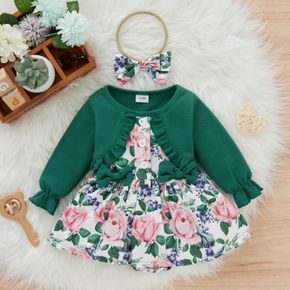 2-piece Baby Girl Faux-two Ruffled Floral Print Long-sleeve Romper and Headband Set