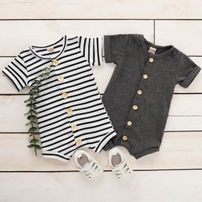 100% Cotton Striped Short-sleeve Baby Romper