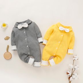 Solid Bowknot Decor Long-sleeve Baby Jumpsuit