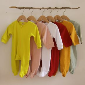 Multi Color Solid Footed/footie Long-sleeve Baby Jumpsuit