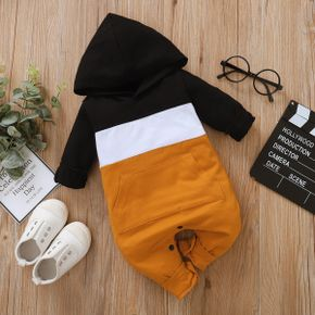 Colorblock Hooded Long-sleeve Baby Ginger Jumpsuit