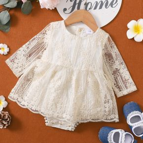 Floral Lace Splicing Beige Long-sleeve Baby Romper Dress