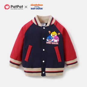 Baby Shark Colorblock Side-Pocket Cotton Jacket For Baby