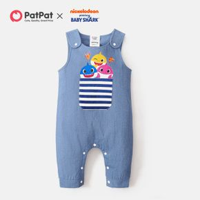 Baby Shark Graphic Denim Tank Jumpsuit for Baby