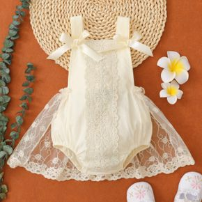 Solid Lace Mesh Splicing Bowknot Sleeveless Princess Baby Overall Romper Party Dress