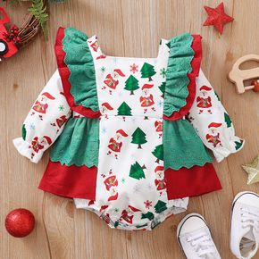Christmas All Over Santa and Tree Print Color Block Ruffle Baby Romper