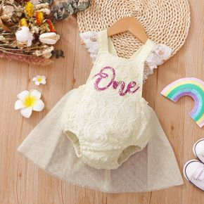 Baby Letter Print Beige Lace and Mesh Splicing Sleeveless Romper Party Dress