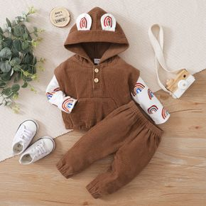 3pcs Baby All Over Rainbow Print Long-sleeve T-shirt and Brown Corduroy Vest with Trousers Set