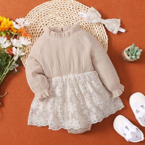 2-piece Baby Girl 100% Cotton Ruffle Collar Floral Embroidered Mesh Skirt Long-sleeve Romper and Headband Set