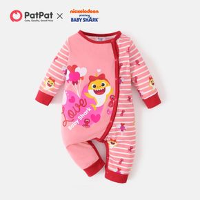 Baby Shark Baby Girl Heart and Stripe Long-sleeve Jumpsuit