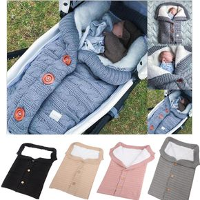 Outdoor Button Baby Knitted Sleeping Bag Thick Fleece Knit Baby Stroller Wraps