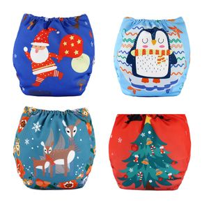 Christmas Baby Cloth Diapers Adjustable Washable Reusable for Baby Girls and Boys