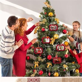 Christmas Hanging Picture Frame Ornaments Buffalo Plaid Christmas Ornaments Christmas Tree Photo Ornament