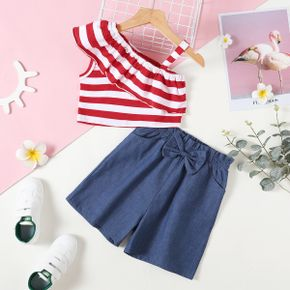 Beautiful Kid Girl 2-piece One Shoulder Stripe Print Shorts Suits