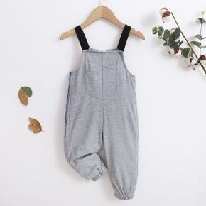 Toddler Girl/Boy Solid Gray Overalls with Pocket