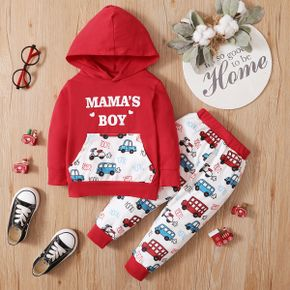 2pcs Baby Cartoon Car and Letter Print Red Long-sleeve Hoodie and Trousers Set