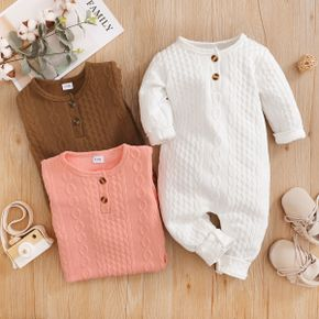 Solid Imitation Knitting Baby Long-sleeve Jumpsuit