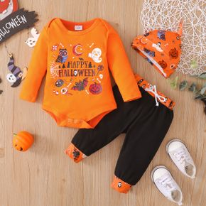 Halloween 3pcs Letter Print Baby Cotton Long-sleeve Romper and Trousers Set