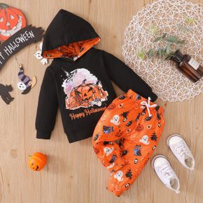 Halloween 2pcs Pumpkin and Letter Print Baby Cotton Long-sleeve Hoodie and Trousers Set