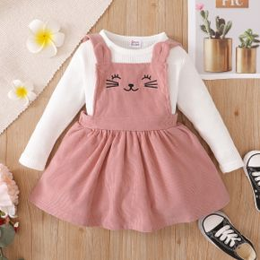 2-piece Toddler Girl Waffle White Top and Cat Embroidered Pink Overall Dress Set
