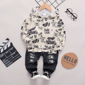 2-piece Toddler Girl/Boy Letter Print Hoodie Sweatshirt and Patchwork Ripped Denim Jeans Set