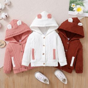 Baby Girl 100% Cotton Cable Knit Textured Ear Design Hooded Jacket