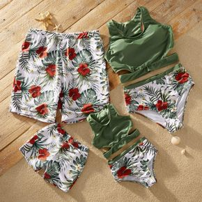 Cut-out Floral Print Matching Swimsuits
