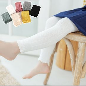 Kid Girl Textured Scallop Cuff Solid Color Leggings