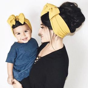 2-pack Solid Color Bowknot Headband for Mom and Me