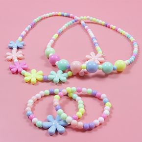 2-pack Candy Color Beaded Necklace and Bracelet Set for Girls