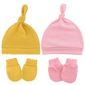 4-pack Baby Top Knot Beanie Hat and Anti-scratch Glove Set