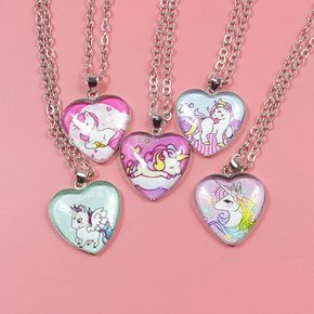 Unicorn Necklace Heart Pendant Jewelry for Girls