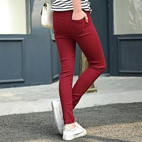 Kid Girl 100% Cotton Elastic Skinny Solid Pants (Multi Color Available)