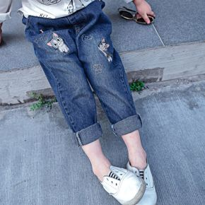 Toddler Girl 100% Cotton Cat Embroidered Denim Jeans