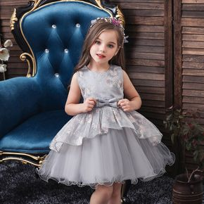 Floral Embroidery Mesh Layered Sleeveless Baby Party Dress