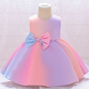Toddler Girl V Neck Gradient Backless Bowknot Pleated PrincessCostume Party Dress