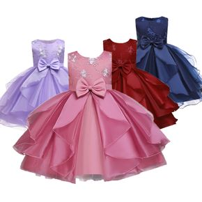 Kid Girl Floral Embroidered Bowknot Design Sleeveless Princess Costume Party Tutu Mesh Dress