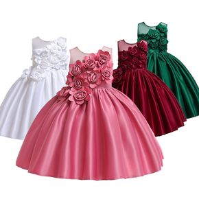 Kid Girl 3D Floral Embroidered Sleeveless Costume Party Gown Yoke Dress