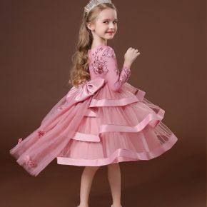 Kid Girl Floral Embroidered Bowknot Design Tailing Princess Costume Party Mesh Layered Dress