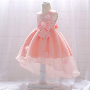 Kid Girl 3D Floral Embroidered High Low Sleeveless Bowknot Design Princess Costume Party Mesh Dress