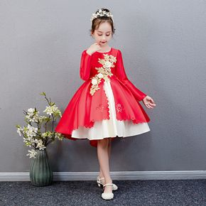 Kid Girl Floral Embroidered Scallop Trim Princess Party Tutu Dress