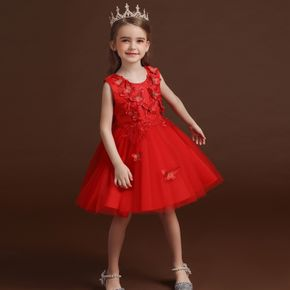 Kid Girl 3D Butterfly Embroidered Sleeveless Bowknot Design Princess Costume Party Mesh Dress