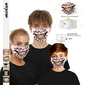 2-Layer Skulls&Joker Printed Woven Shell Half Face Mask (Include Two Replaceable Filters)