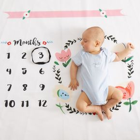 12 Monthly Flower Print Baby Milestone Photography Newborn Soft Baby Photography Props Background Blanket photo