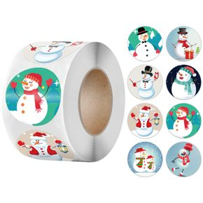 Christmas Ornament Roll Stickers Round Christmas Tags Xmas Decorative Envelope Seals Stickers for Cards Gift Envelopes Boxes