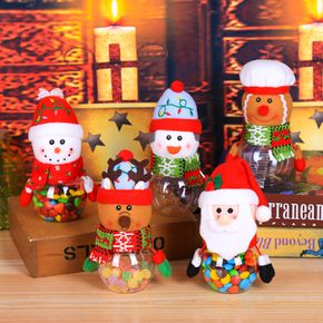 Santa Claus Snowman Candy Jar Christmas Gift Bags Chocolate Cookie Candy Storage Bottle