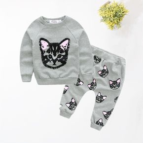 Baby / Toddler Cat Print Sweatshirt and  Cropped Pants Sets