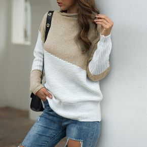 2021 New Autumn and Winter Irregular Sleeves Half Turtleneck Splice Color Pullover Sweater
