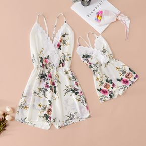 Lace Side Floral Print Matching White Sling Shorts Rompers