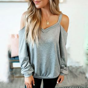 casual Print V-neck long sleeve T-shirt Solid Women Clothes